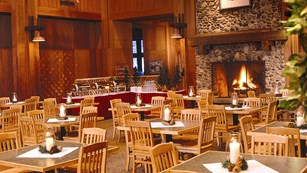 many tables and fireplace