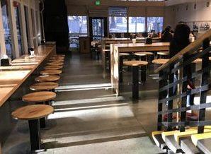 rows of stools at long tables