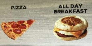 picture of pizza slice and breakfast muffin