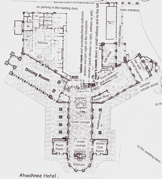 map of hotel rooms and public areas
