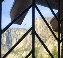 window pane, roof line and yosemite cliffs