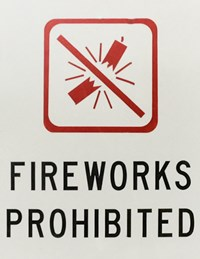 Yosemite sign that says fireworks prohibited