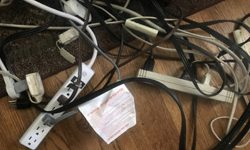 power strips and cords tangled together