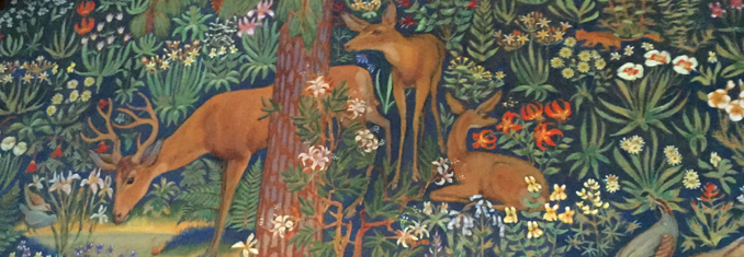 mural with deer, flora and other fauna