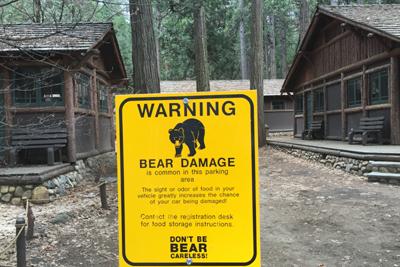 2 cabins and sign warning of bear damage