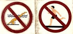 drawings on tiles showing no diving, no running