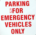 sign says parking for emergency vehicles only
