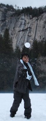 Jovill throws a snowball photo by Christina Nguyen Feb 2017