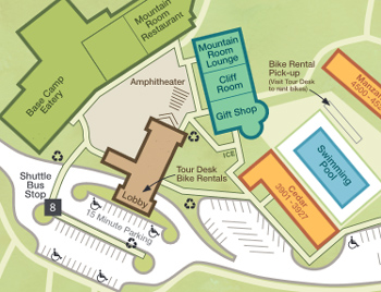 map of buildings, pool