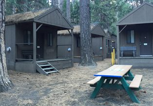 cabins and picnic table