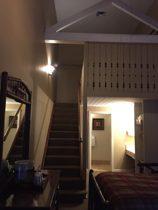 bathroom door, stairs