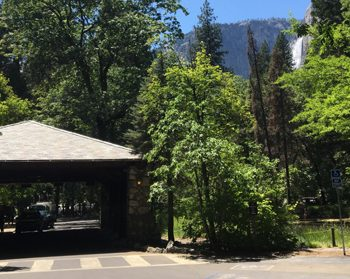 upper yosemite fall and hotel entrance