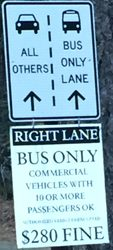road sign right lane bus only