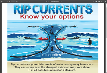 drawing of rip current and escape routes
