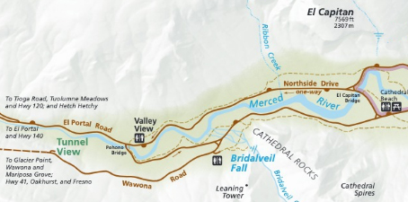 map with roads, river cliffs
