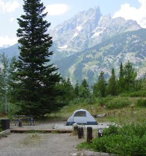 tent in tent pad Teton peak beyond