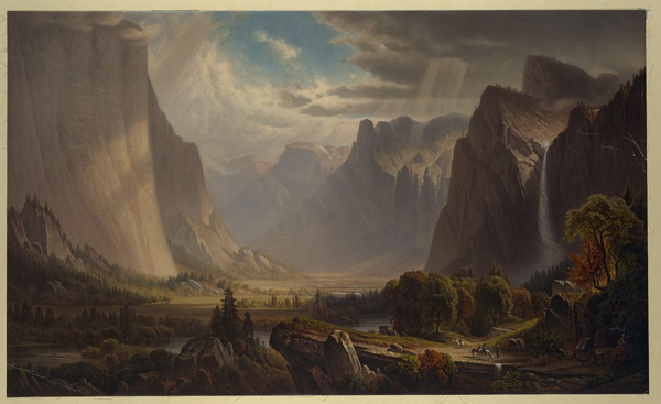 painting of Yosemite Valley cliffs, waterfall