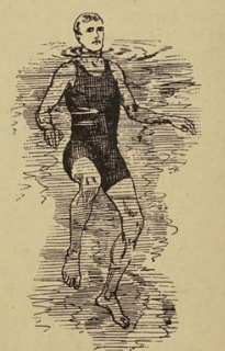 drawing of a man treading water