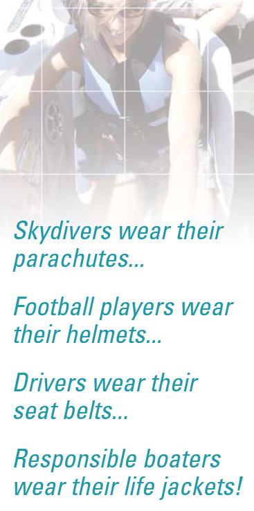 poster says skydivers wear their parachutes responsible boaters wear their life jackets