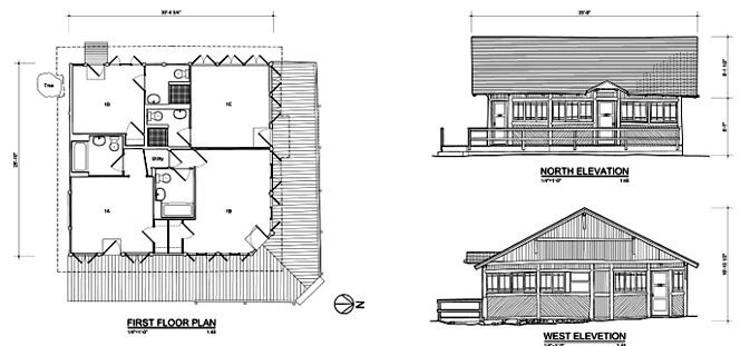 floorplan and 2 elevation drawings