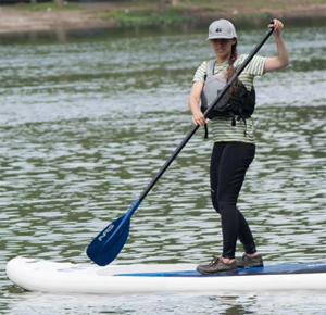 woman on SUP wearing a lifejacket