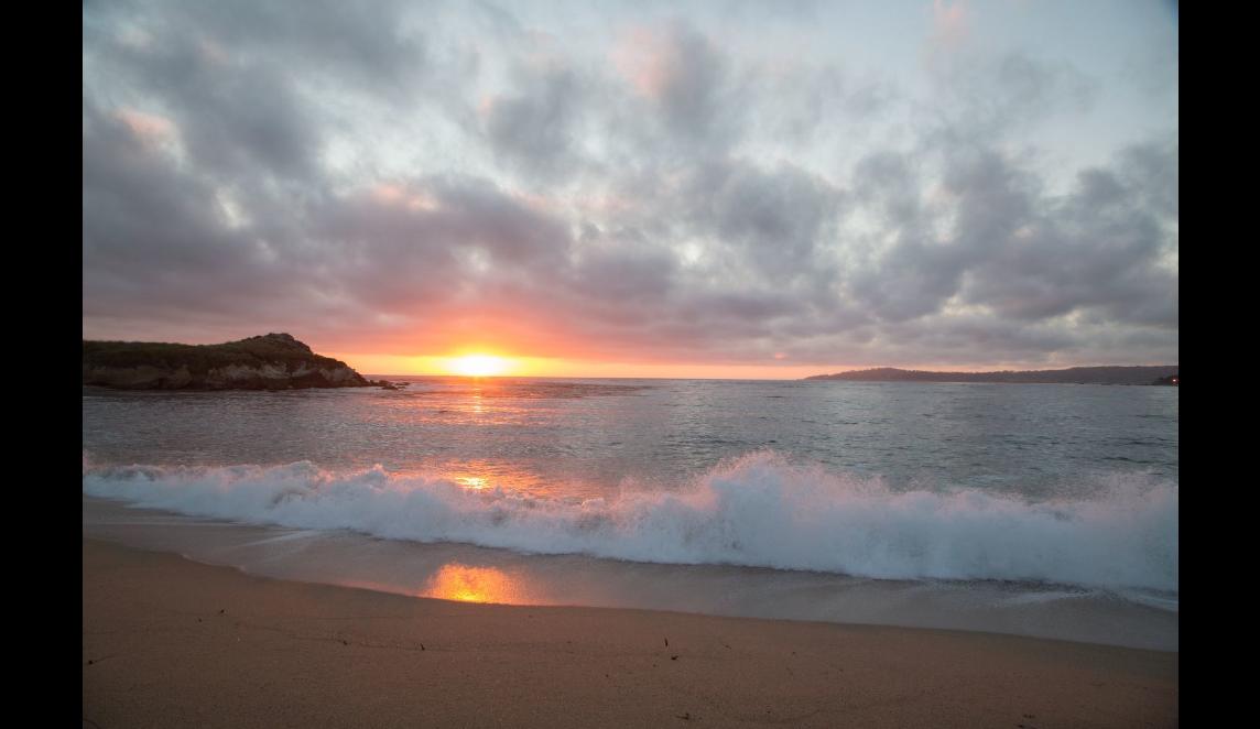 sun almost down at beach