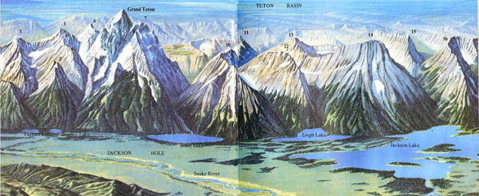 NPS painting of Grand Teton National park peaks