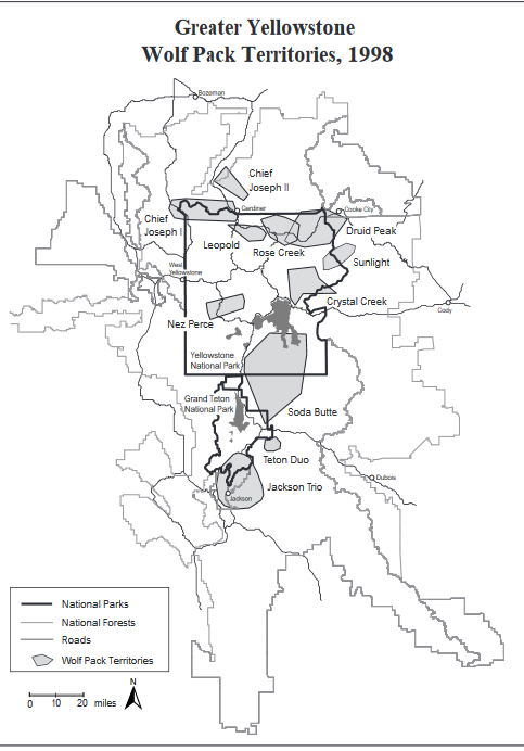 map with Yellowstone and Grand Teton national parks