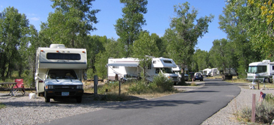 rows of trailers at campsites