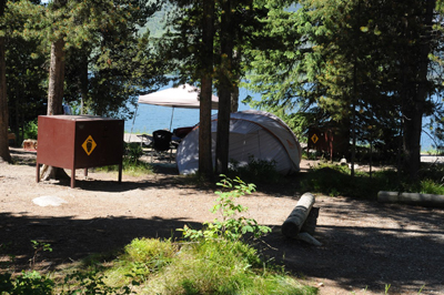 campsites with lake beyond