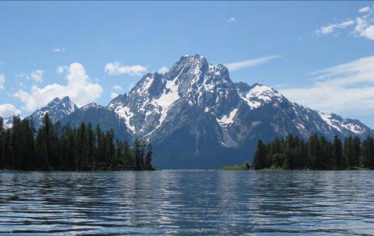 view across water of Mount Moran