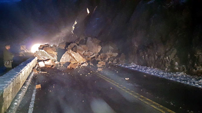 huge chucks of rock on roadway