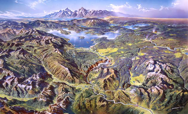 painting of raised relief of Yellowstone