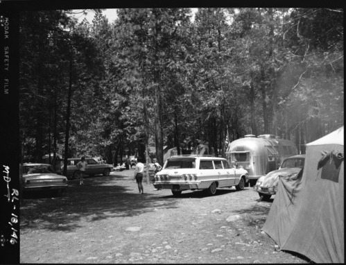 1964 Chevy Impala and tents in campground