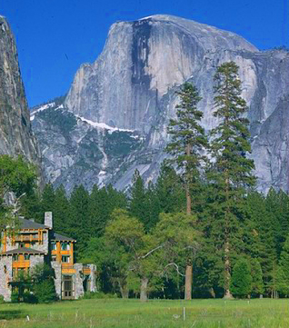 hotel in foreground, Half Dome in background