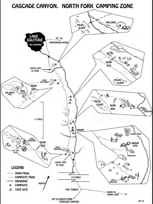 sketches of campsites and surroundings