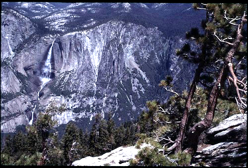 water fall viewed from top of dome