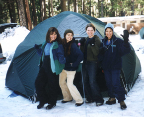 girls with 8 person tent