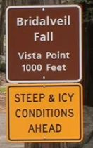 sign says steep and icy conditions ahead