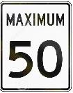 maximum 50 kilometers per hour = maximum 31 miles per hour city speed limit