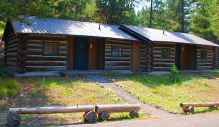 two wood cabins