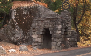 stacked stones create and entrance gate