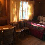 desk, bed in cabin