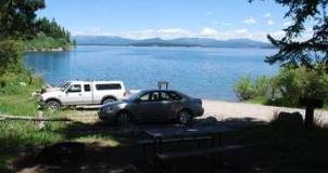 parking lot next to lake