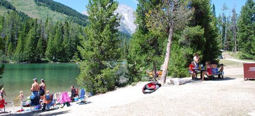 picnic table at lake edge