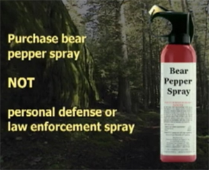 NPS video purchase bear pepper spray not personal defense or law enforcement spray
