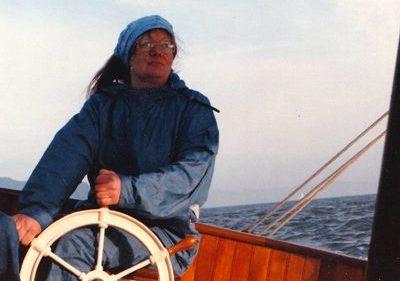 steering Jeff Robinson's boat on SF Bay