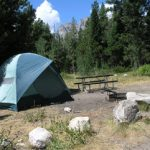 tent and picnic table