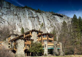 hotel with cliffs behind