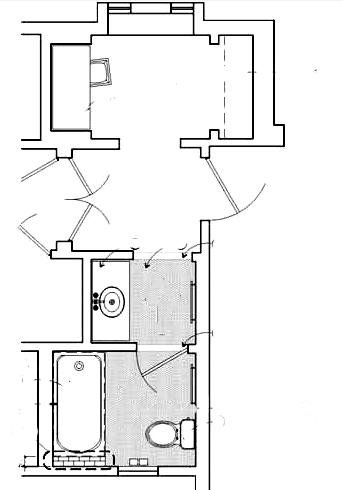 Ahwahnee hotel duplex cottage bath with dressing room floor plan
